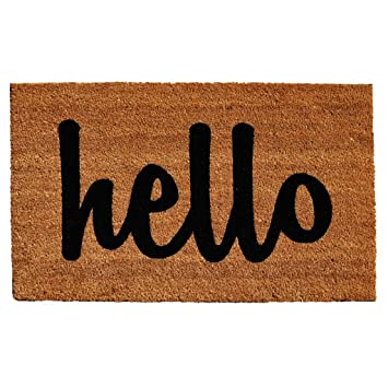 Home u0026 More Natural/Black Script Hello Doormat ...  sc 1 st  Amazon.com & Amazon.com: Home u0026 More Natural/Black Script Hello Doormat 2u0027 x 3 ... pezcame.com
