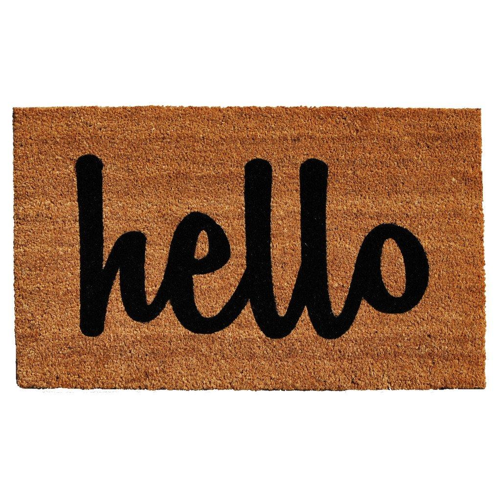 Home & More Natural/Black Script Hello Doormat, 2' x 3'