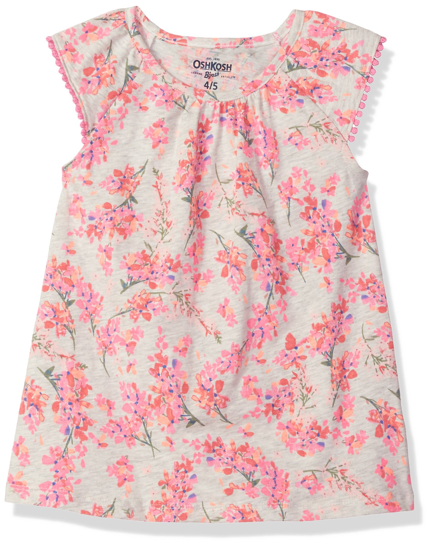 Osh Kosh Girls' Kids Fashion Tops, Grey Floral, 4-5