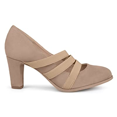 Brinley Co. Womens Levin Faux Suede Comfort Sole Chunky Heel Almond Toe Triple Elastic Strap Heels | Pumps