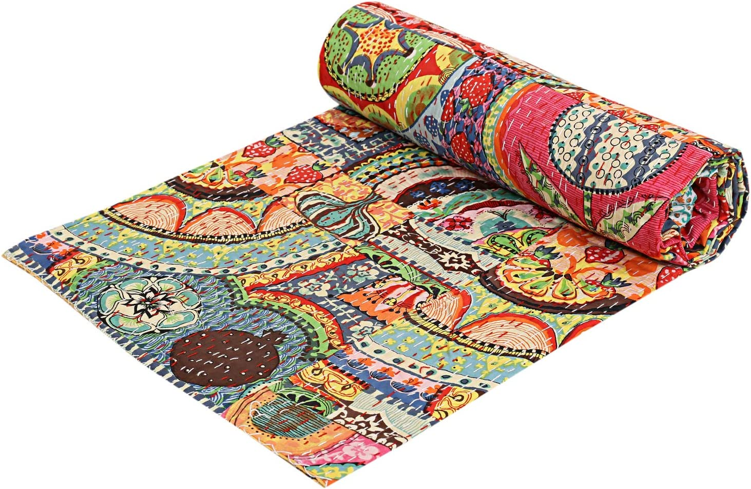 Indian Cotton Kantha Quilt qeen Bedspreads Throw Blanket  Bohemian Bedspread Bohemian Bedding Handmade Kantha Quilt Bed Cover