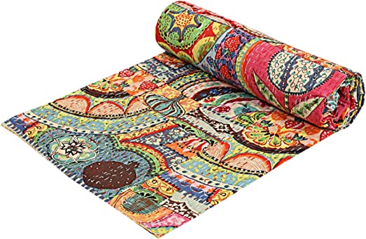 COTTON KANTHA QUILT BEDSPREAD BLANKET THROW INDIAN QUEEN SIZE FLORAL HANDMADE