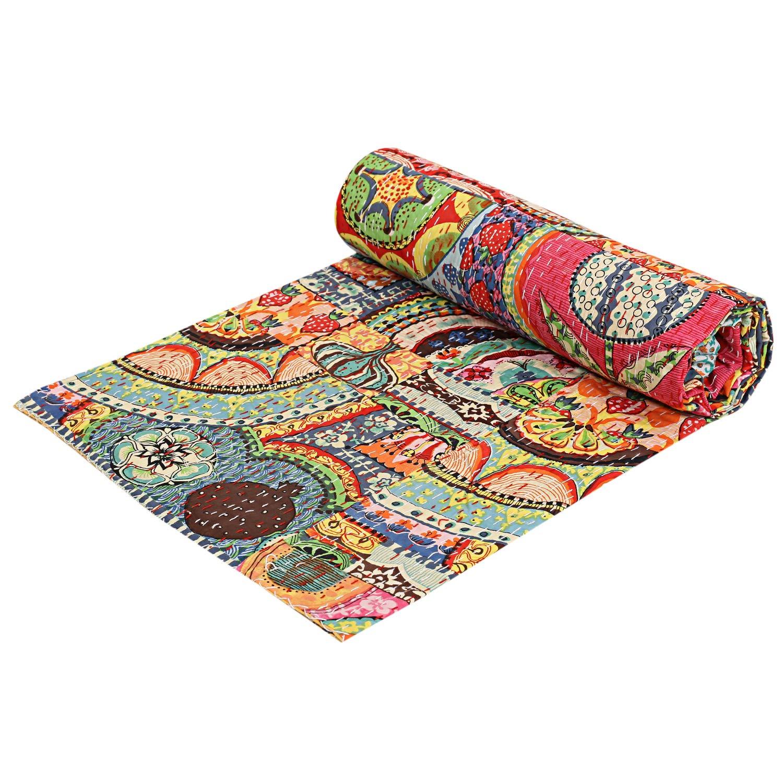 indien Patch Work Coton Kantha Queen Couvre-lit Jeté de lit (Multi Floral) Bohemian Couvre-lit Bohème Parure de lit fait à la main Kantha housse de matelas 90 x 108 Janki Creation
