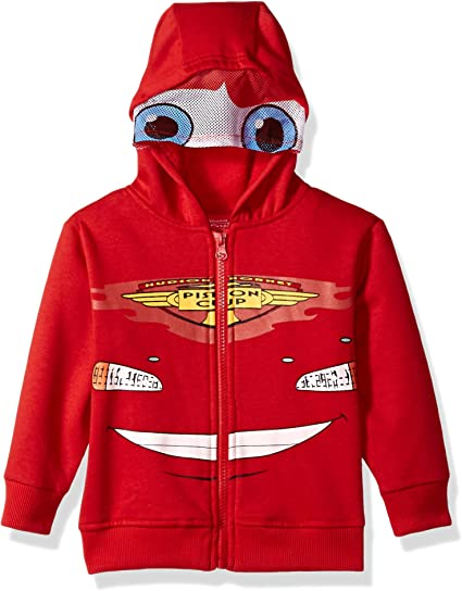 Disney Boys 2 Piece Lightning McQueen Hooded Fleece Set with Mask