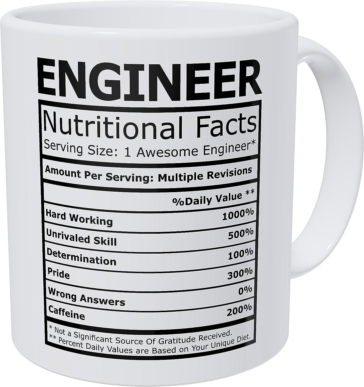 Wampumtuk Engineer Nutritional Facts Funny Coffee Mug 11 Ounces Inspirational And Motivational