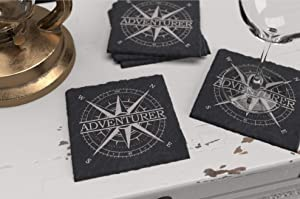 Adventurer Slate Stone Rustic Drink Table & Bar Coasters Set, 4 Square Coasters with Rubber Feet