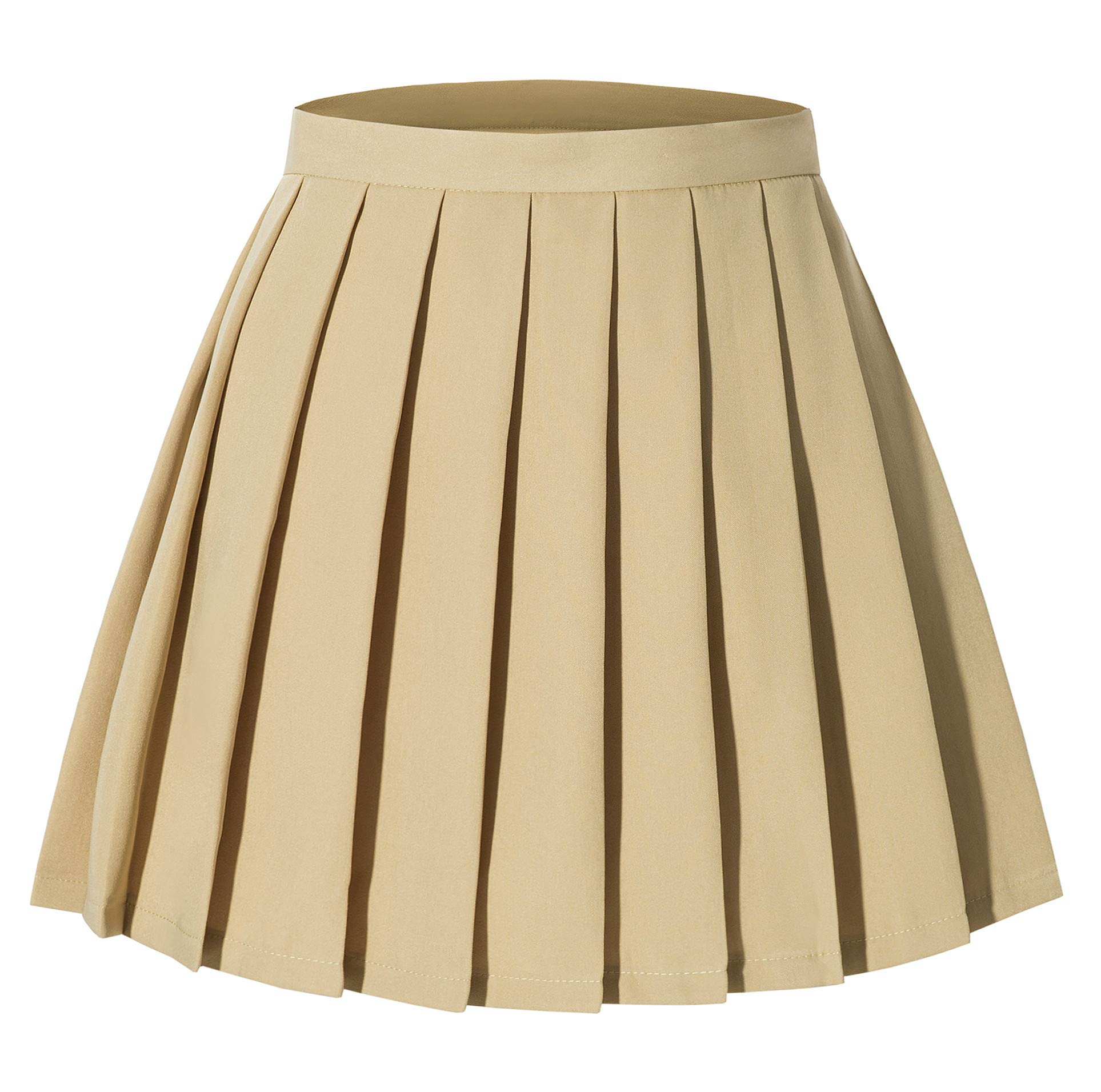 Girl's A-line Kilt Plaid Pleated Skirts Show Skirt(M,Khaki)