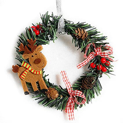 Small Christmas Wreaths.Amazon Com Mydufish Small Christmas Wreath Cartoon With
