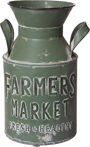 Old Fashioned Aged Metal Milk Can, Rustic Farmhouse Inspired Planter Vase Decorative Jug, Medium Sized, 10 Inches