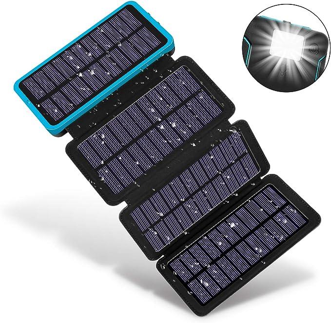 F.DORLA - Cargador Solar portátil de 25000 mAh, Doble Salida USB ...