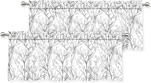DriftAway Tree Branch Abstract Ink Printing Lined Thermal Insulated Window Curtain Valance Rod Pocket 52 Inch by 18 Inch Plus 2 Inch Header Silver Gray 2 Pack