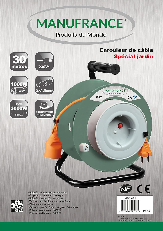 5 MANUFRANCE Produits du monde 400201 Enrouleur de jardin 30 m C/âble 2x1