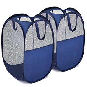 MaidMAX Pop-Up Laundry Clothes Hamper Bag, Mesh Laundry Basket with 2 Handles Each, Collapsible, Blue, Set of 2