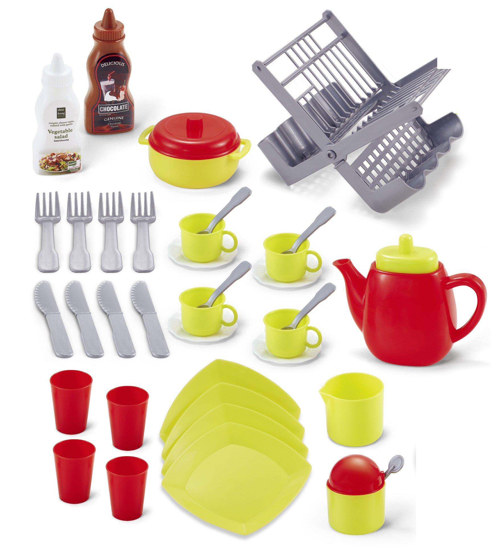 Genius Art TeaPot Set for Little Girls - Kids Kitchen Accessories - Pretend Play Toy Tea Pot Party 2018 Edition