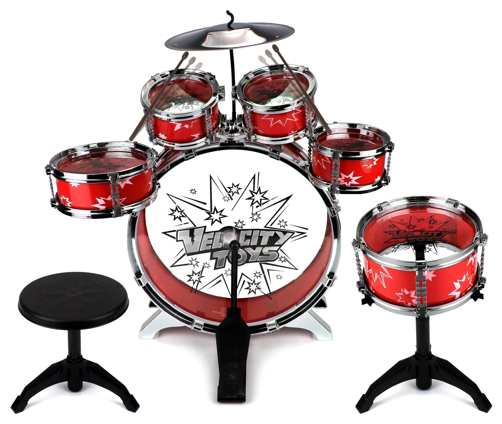 Velocity Toys 11 Piece Children's Kid's Musical Instrument Drum Play Set w/ 6 Drums, Cymbal, Chair, Kick Pedal, Drumsticks (Red) by Velocity Toys
