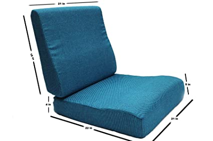 FLEXI Comfort Contour Model Moulded PU Foam seat Cushion of 21x22 in and backrest of Size 21X18 in for 5 Seater (5+5) Wooden Sofa with Blue Coloured Fabric: Amazon.in: Electronics