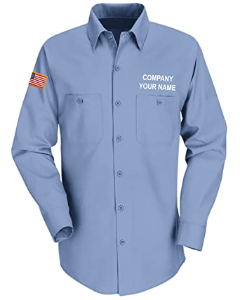 fe77cc3e0ed8 Custom Red Kap Men's SP14 Long Sleeve Industrial Solid Work Shirt with Name  Embroidery and American
