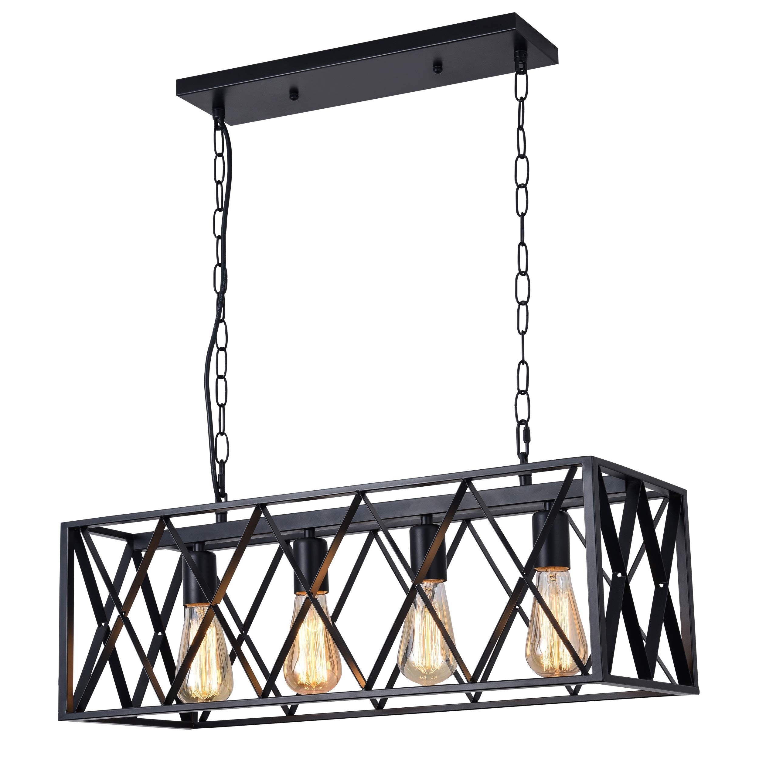 ISRAMP Kitchen Island Lighting Fixtures, 4-Light Rectangle Iron Matte Black Shade Industrial Pendant Light Rustic Farmhouse Chandelier by ISRAMP (Image #2)
