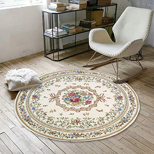 Satbuy Luxury Soft Rustic Floral Area Rugs Non Slip Doormat Living Room Rug Washable Rose Design Floor Rugs 39.3 Round