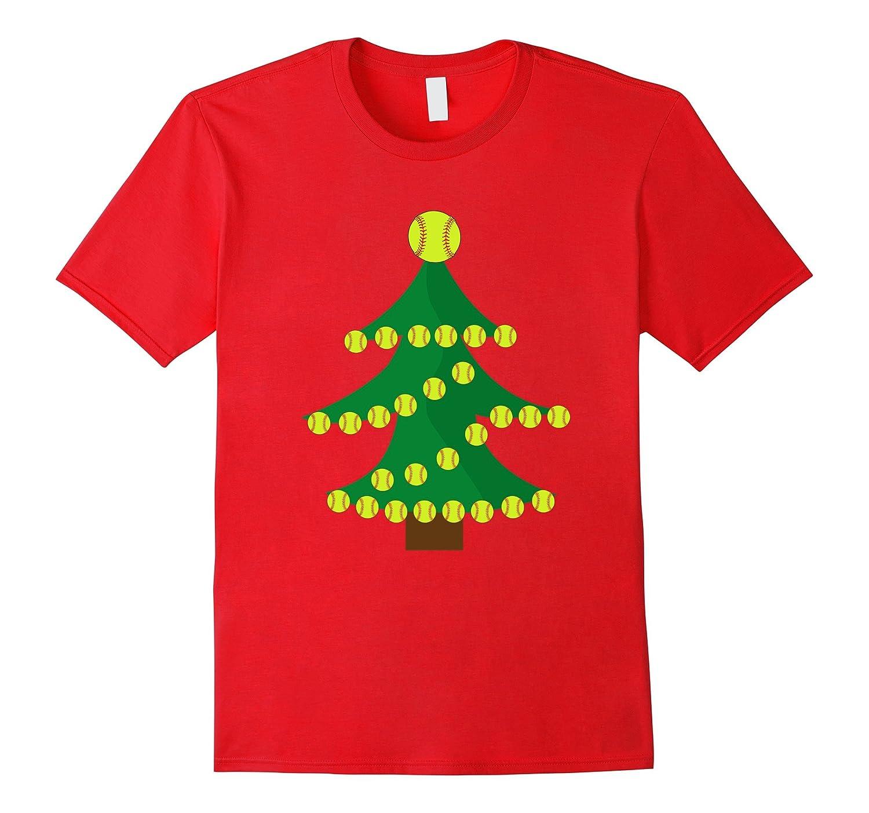 Funny Softball Christmas Tree T-Shirt for Kids and Adults-FL