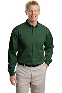 9 Colors Essentials Big and Tall Long Sleeve Easy Care Twill Sport Shirt