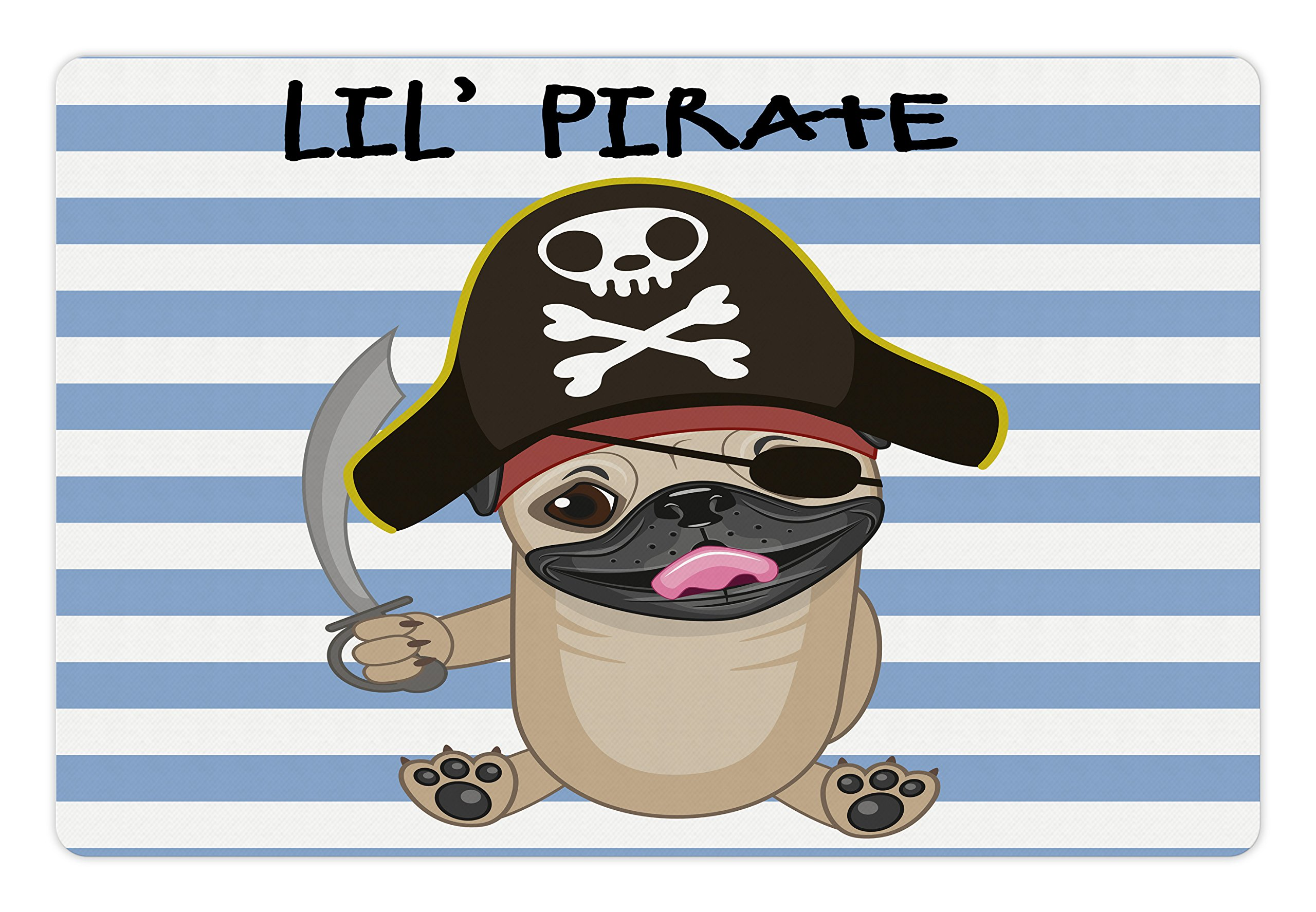 Lunarable Pirate Pet Mat for Food and Water, Buccaneer Dog in Cartoon Style Costume Lil Pirate Striped Backdrop Funny Animal, Rectangle Non-Slip Rubber Mat for Dogs and Cats, Multicolor by Lunarable (Image #1)