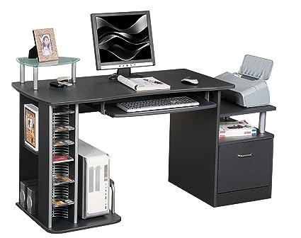 Scrivania Ufficio Nera : Sixbros office scrivania ufficio porta pc nero granito s a