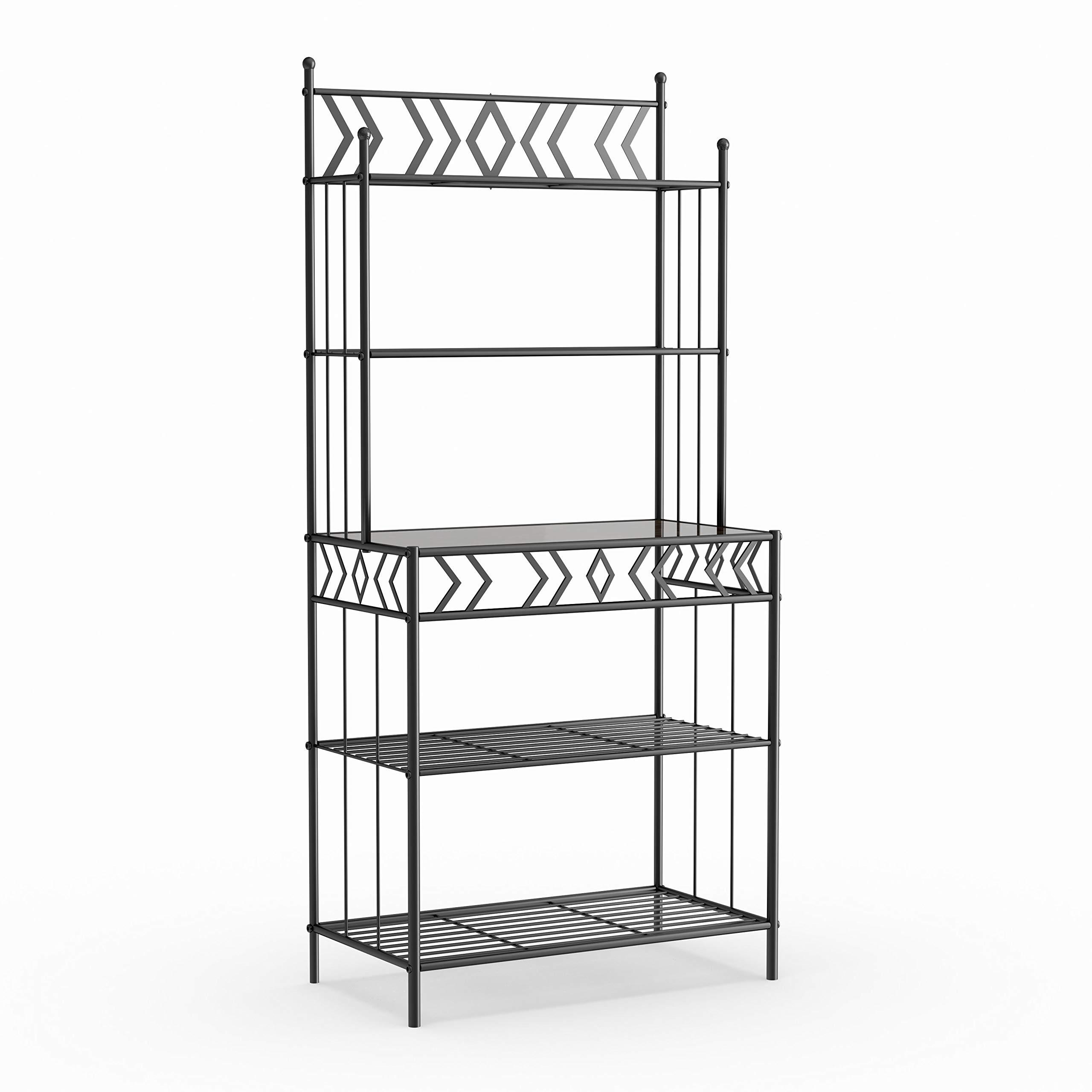 Porch & Den Black Metal Storage Bakers Rack by K & B Furniture (Image #2)