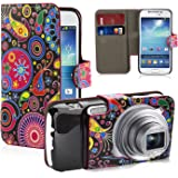32nd Design book wallet PU leather case cover for Samsung Galaxy S4 Zoom C1010 + screen protector and cleaning cloth - Jellyfish