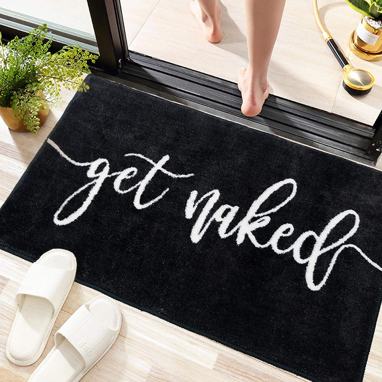 Get Naked Bath Mats Black Bathroom Rugs for Bathtub Funny Bathroom Decor Cute Plush Bathtub Mat Water Absorbent Non Slip Bath Mat