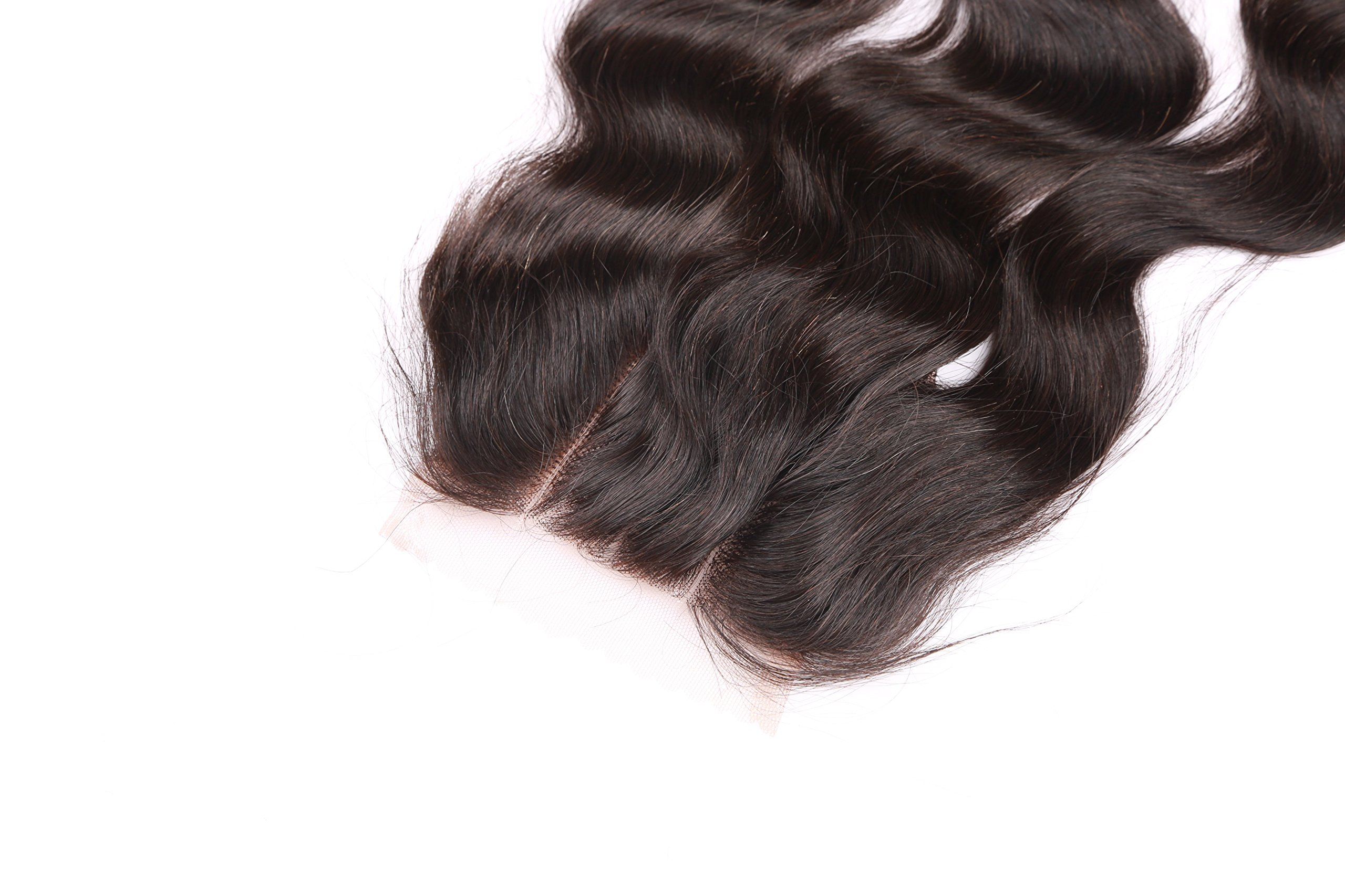 Fennell 3 Part Closure Body Wave Virgin Brazilian Hair 130% Density Lace Closure Natural Hair Color Soft and Silky(8''-20'') (8 inches)