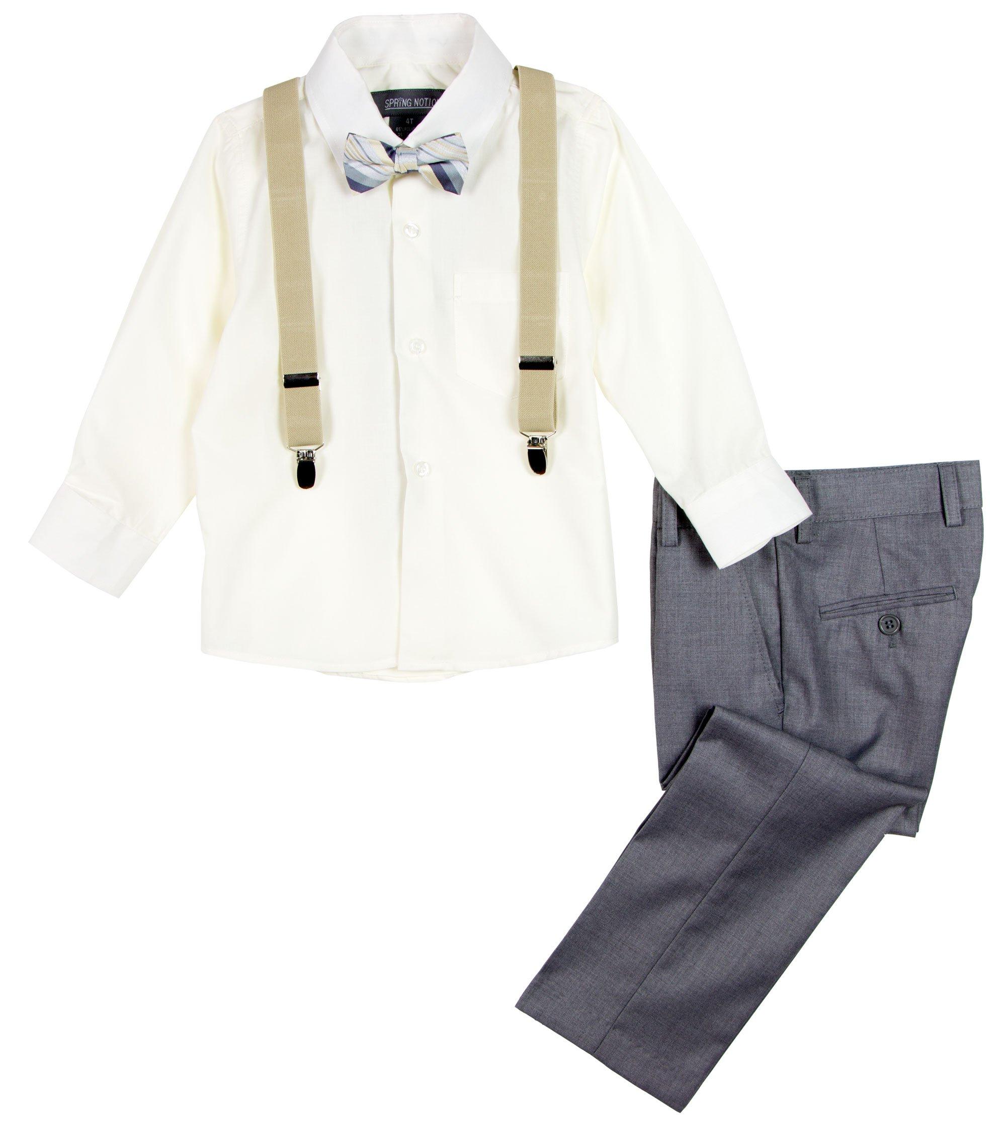 Spring Notion Boys' 4-Piece Dress up Pants Set 8 Grey/Ivory