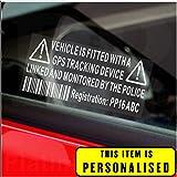 4 x / Fake GPS Rastreador personalizada dispositivo de sistema de alarma de la unidad de Seguridad Maniquí de la ventana de advertencia pegatinas con código de registro, número de etiqueta impresa-Policía sesión monitorizados para coches, Van, de camiones, caravanas, autocaravanas, camiones, Taxi, Minicab, Automóvil