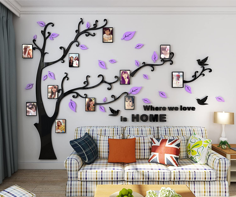 L Lila Alicemall Wandtattoo Wandaufkleber Wanddeko Acryl Chic Design 3D Wand Sticker mit Bilderrahmen