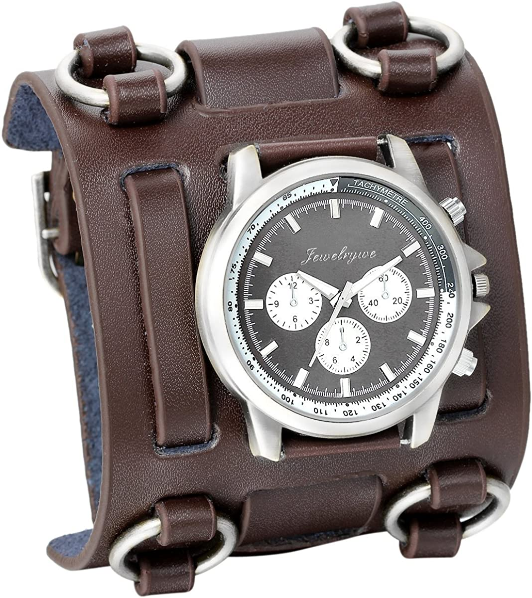 JewelryWe Black Brown Hip-hop Gothic Punk Style Men Watch Wide Leather Fashion Cuff Wristwatch for Halloween(5 Colors)