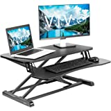 VIVO Standing 32 inch Desk Converter, Height Adjustable Riser, Sit to Stand Dual Monitor and Laptop Workstation with Wide Key