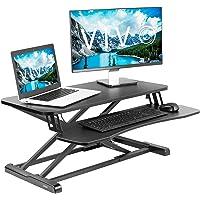 VIVO Black Height Adjustable 32 Inch Standing Desk Converter, Sit Stand Dual Monitor and Laptop Riser Workstation (Desk…
