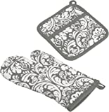 """DII Cotton Damask Oven Mitt 12 x 6.5"""" and Pot Holder 8.5 x 8"""" Kitchen Gift Set, Machine Washable and Heat Resistant for…"""
