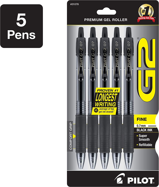 PILOT G2 Premium Refillable & Retractable Rolling Ball Gel Pens, Fine Point, Black Ink, 5-Pack (31078)