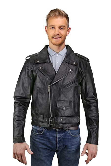 Amazon Com Mens Leather Motorcycle Jacket Cowhide Leather Biker