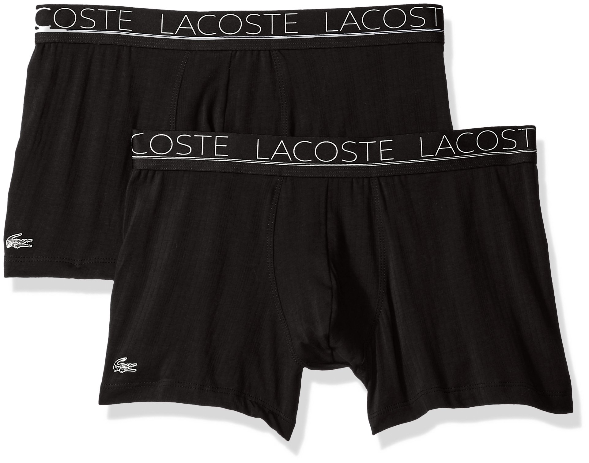Lacoste Men's 2PK Super Fine Trunk, Black, M