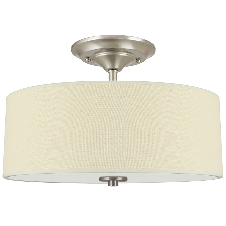 "Kira Home Addison 13"" 2-Light Semi-Flush Mount Ceiling Light Fixture with Off-White Fabric Drum Shade, Brushed Nickel Finish"