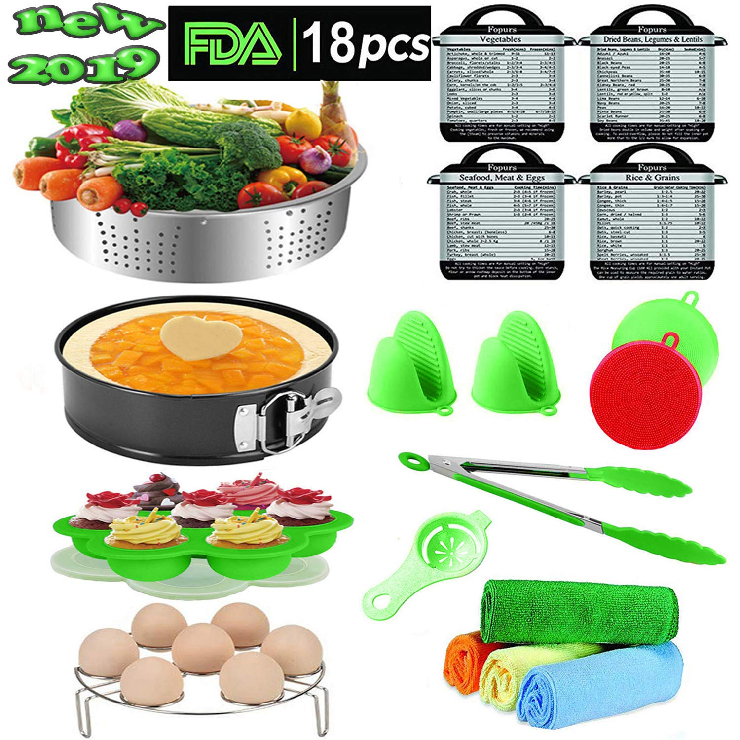 18 Piece Pressure Cooker Accessories fits Instant pot Compatible with 6,8 qt instapot,Steamer Basket,Egg beater, Cake Pan separator,Magnets Oven Mitts Cleaning cloth Tong Egg Bites Mold Egg Rack