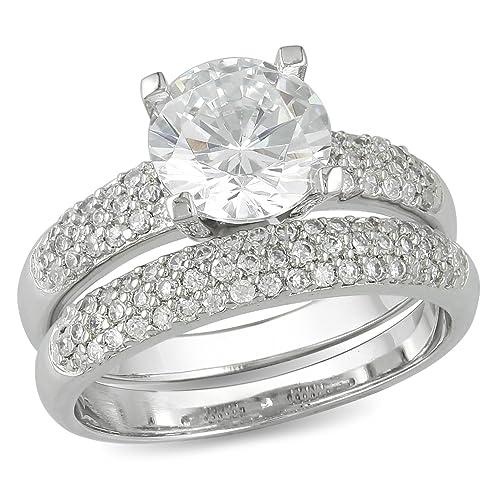 Juego de anillo de compromiso y anillo de matrimonio de plata con centro de circona cúbica