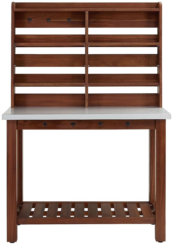 Crosley Furniture KF43001EU Mesa Indoor Outdoor Island Buffet with Zinc Top and Hutch – Eucalyptus