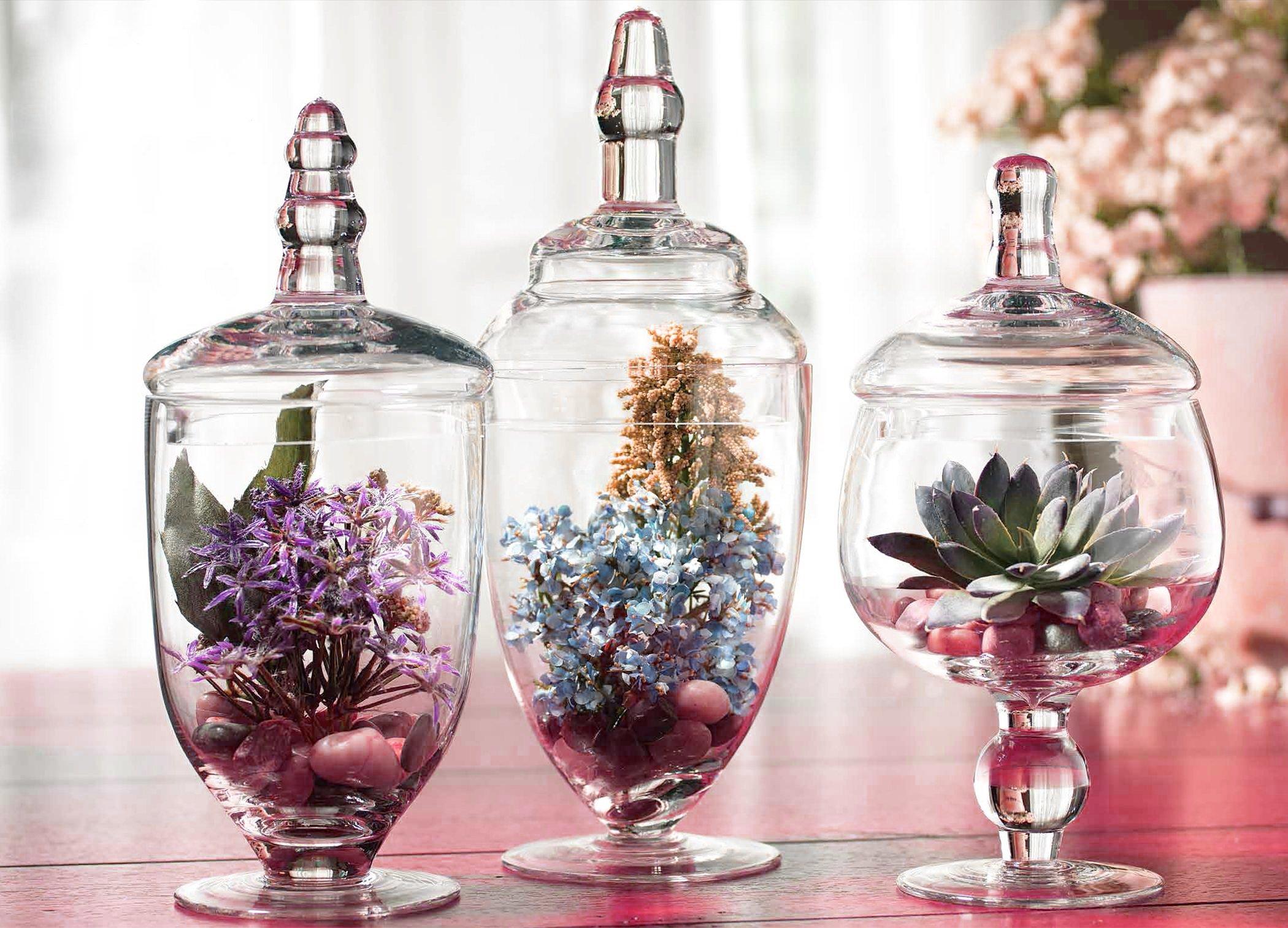 Kitchen bathroom decor clear glass canister jar lid set