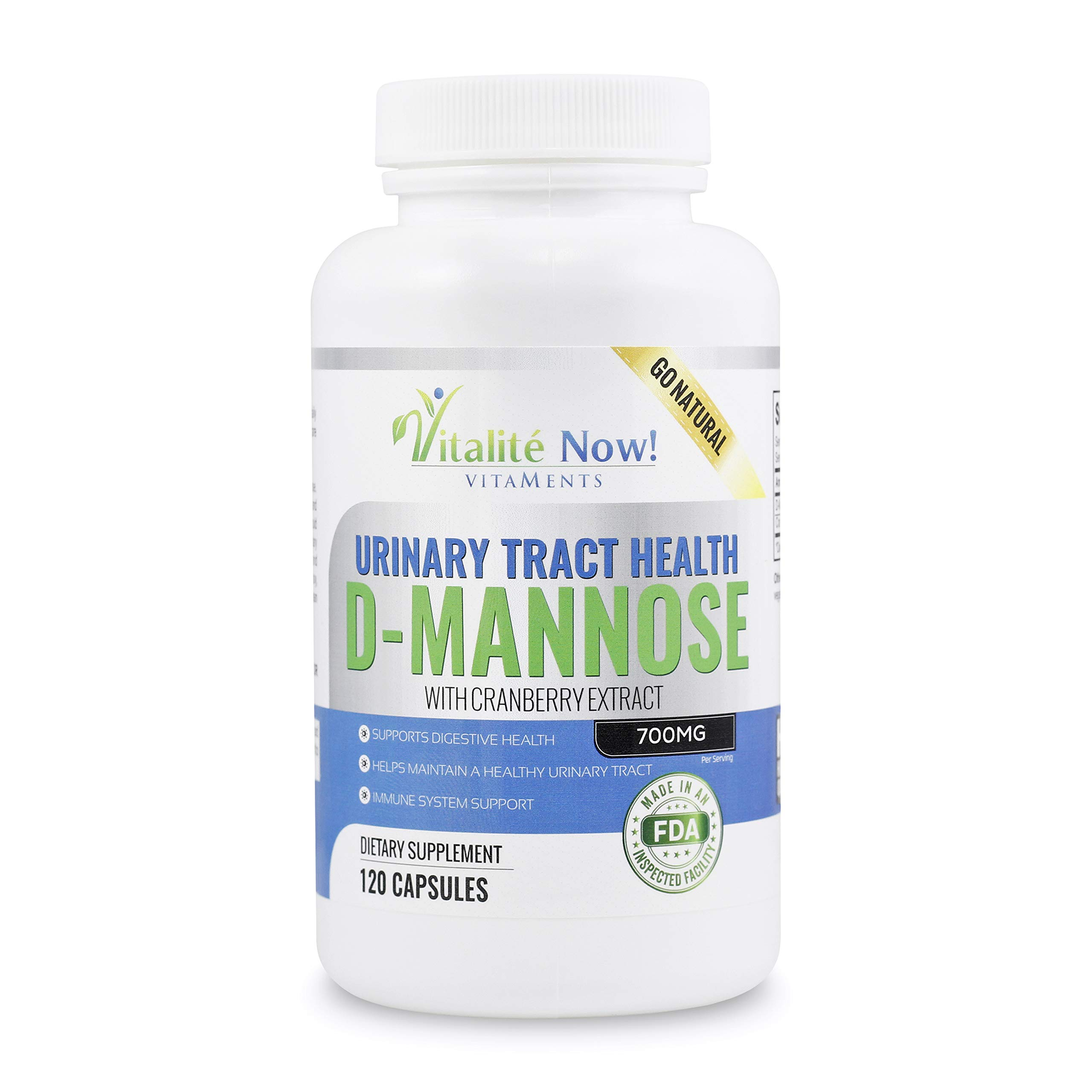 *New* High Strength Pure D-Mannose with Cranberry Extract for Natural Urinary Tract Infections and UTI Support - Digestive Health - Immune System Support - 700mg - Non-GMO - 120 Pills by Vitalité Now!