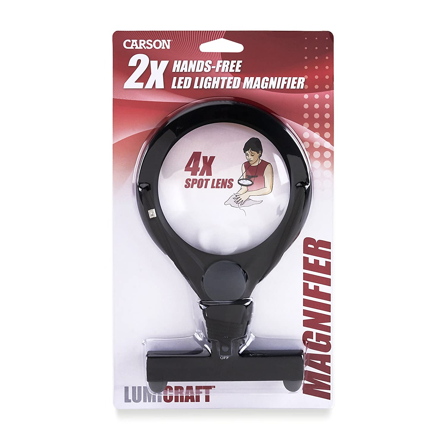 Carson LumiCraft LED Lighted Hands-Free 2x Magnifier with 4x Spot Lens & Neck Cord (LC-15) Carson Optical