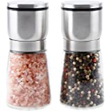 Premium Pepper Grinder, Heavy Duty Glass Jar with Stainless Steel Adjustable Ceramic Salt Grinder, Make your food Great Again!