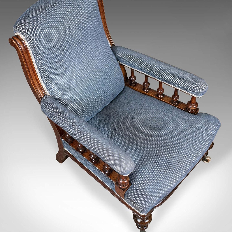 Sillón antiguo, inglés, victoriano, silla de club, nogal ...
